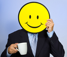 Smiley Face Man Drinking Coffee