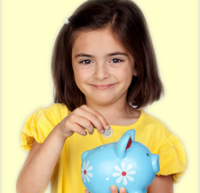 Little Girl with Piggy Bank
