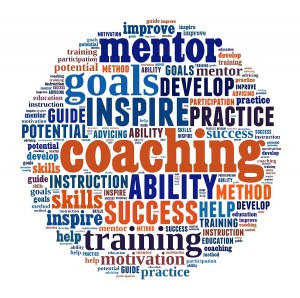 Coaching concept in word collage