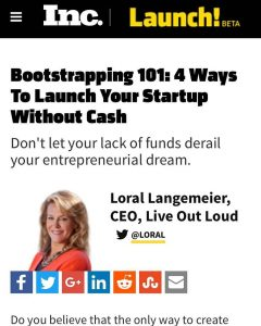 So excited to be featured on @incmagazine! Check out the article through my Facebook page (LoralLangemeier). #Moneymonday #startabusiness #quityourjob