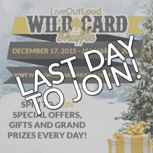 TODAY is the FINAL DAY to join my WILD CARD SHUFFLE! Get it on it here: http://wildcardshuffle.com/ So far I've given out: • More than $50,000 in Loral Bucks • 5 tickets to my hottest wealth training program, Make New Money ($597 value) • 3 tickets to the only workshop in the world where you're GUARANTEED to make money, 3 Days 2 Cash ($2495 value) • 4 admissions into my Internet Marketing program, a robust course on all digital marketing ($4997 value) • 1 admission into my $100K Challenge where I GUARANTEE you will make $100,000 in your business in the next year if you do exactly what we say ($8500 value) I have 1 more grand prize left: 1 admission to my $100K Challenge! I'll be announcing the winner of this prize on my New Year, New You webinar on Tuesday (Jan 5). Get in on the shuffle here & take 2016 to a new level: http://wildcardshuffle.com/