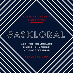 Hosting my next #AskLoral webinar on Tuesday, June 7 at 430pm...can't wait! Join me & get some free business coaching ;) #LoralLangemeier
